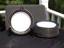 """Set 11 M Redon Limoge Special Blue & Gold Salad Plates 7 1/2"""" Green & Blue Marks"""