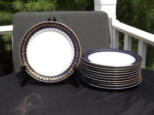 "11 M Redon Limoge Blue & Gold Salad Plates 7 1/2"" Green & Blue Marks"