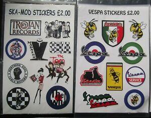 SKA - MOD - VESPA mini stickers SCOOTER waterproof vinyl