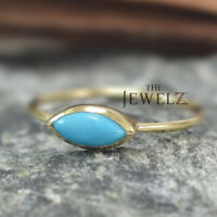 14K Gold 0.52 Ct. Genuine Marquise Cut Turquoise December Birthstone Fine Ring