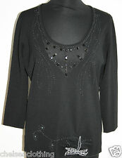 NEW CHESCA Top Beaded Black Plus-Size Large UK14-16 Scoop-Neck Chic Evening wear