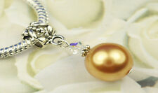Bright Gold Crystal Pearl Dangle Charm Bead European Style w Swarovski Elements