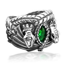 Fine 925 Sterling Silver Synthetic Green Gem LOTR Aragorn's Ring of Barahir