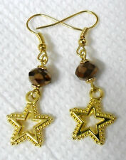Dangle earrings - gold stars + glass crystals