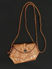 Genuine embossed tan leather purse with strap from South Africa