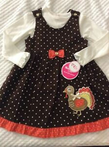 Girls' 4T Thanksgiving Themed 2 Piece Dress by Nannette Kids-NEW WITH TAGS!