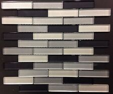 Subway Grey Black Glass Mosaic  Kitchen Backsplash Bathroom Tile