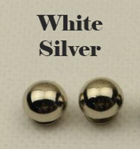 2 Round Dome Metal White Silver Purse Feet Hardware Studs 15mm