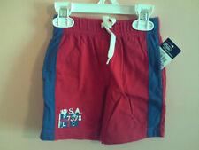 NWT Ralph Lauren boy red gym style shorts w/blue stripe & flag; size 2T