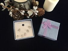 3Pairs Ear Stud Alloy A B C letter Cubic Zirconia Shape Earrings Set Gift