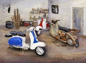 Our Past in the Rear View Mirror - Scooter, Vespa, Lambretta Print