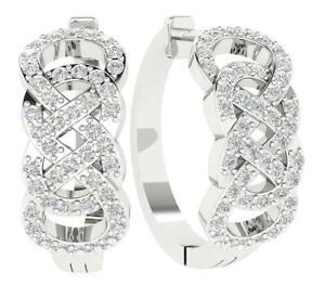 SI1 G 1.01 Ct Natural Diamond Designer Hoop Huggie Earrings White Gold 0.80 Inch