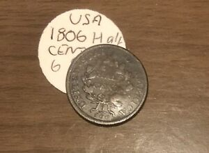 1806 Draped Bust Half Cent With Stems