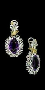 Fashion 925 Silver Filled Daisy Flower Ear Alexandrite Drop Women Jewellery Gift