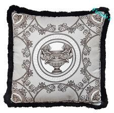 """VERSACE Medusa La Coupe Pillow - 17.7"""" - Grey/Black"""