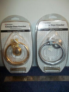 CIRCULAR, ROUND RING DOOR KNOCKER AND FIXINGS - SATIN CHROME / POLISHED BRASS