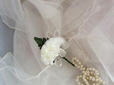 IVORY SILK CARNATION BUTTONHOLES - WEDDINGS - ARTIFICIAL SINGLE FLOWER