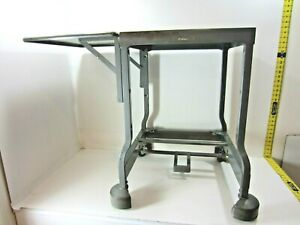 Vintage INDUSTRIAL TYPEWRITER TABLE Drop Leaf Metal Mid Century Desk Stand