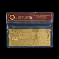 WR Gold Indonesia Polymer Banknote 100000 Rupiah Golden Paper Money Collection