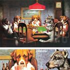 """36W""""x24H"""" FRIEND IN NEED by C.M. COOLIDGE - DOGS CARDS POKER - CHOICES of CANVAS"""