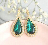 4.50Ct Pear Cut Green Emerald Drop & Dangle Earrings 14K Yellow Gold Finish