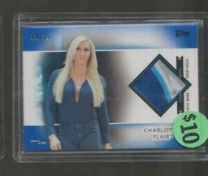 2017 Topps WWE Women's Division Charlotte Flair Blue Shirt Relic Card /25