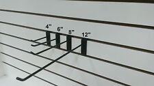 """4"""", 6"""", 8"""" & 12"""" Black Slatwall Hooks Combo 50Pcs Ea."""