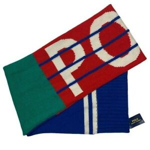 Mens Polo Ralph Lauren Wool Blend Color Block Spell Out Winter Scarf NWT