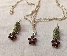 $579 Genuine Green Peridot Mozambique Garnet 925 Silver Flower Earrings Pendant
