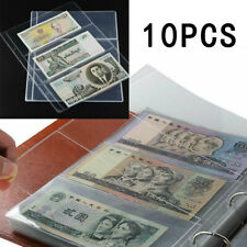 10Pcs 3-pocket Banknotes Album Paper Money Currency Collection Binder Sleeves