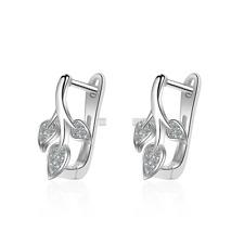 18K Gold Plated CZ Leaf Drop Dangle Cute Omega back Earrings for Women Jewelry