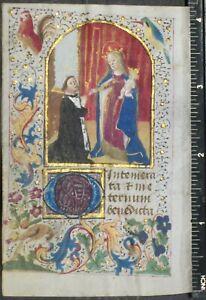 Medieval illuminated BoH leaf,miniature,birds in illuminated Border,ca.1470