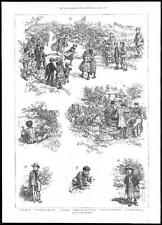 1885  A DAY IN THE COUNTRY - Children Girls Races - Flowers - Luncheon  (048)
