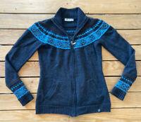 Neve Women's 100% Wool Zip Up cardigan Sweater Size S IN Grey Blue F8