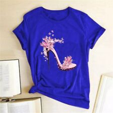 White T Shirt Women Tops Fashion High Heel Shoes Letter Print Tshirt 2020 Women