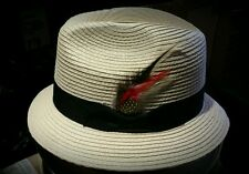 MENS  LARGE  NATURAL MILAN BRIM LOWRIDER HAT FEDORA VINTAGE ROCKABILLY RAT ROD