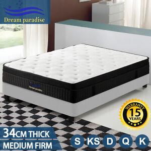 34CM Europe Top Mattress Queen Double King Single Bed Memory Foam Pocket Spring