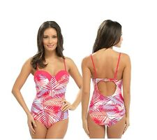 Ladies Floral Palm Pink Swimsuit Padded Cups Adjustable Strap Swimwear