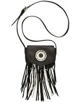 Sam Edleman Ariana Womens Fringe and Beaded Crossbody Handbag Black