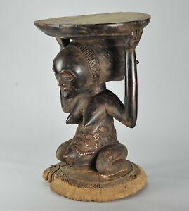 Superbe Tabouret à caryatide Africain LUBA Stool statue African Tribal Art 1270