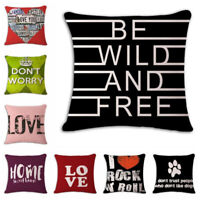 18'' Letter Cotton linen pillow case cover sofa waist cushion cover Home Decor