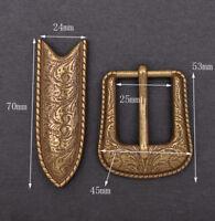 """Vintage Copper Western Flower Engraved Cowboy Belt Pin buckle For 1"""" Belt Strap"""