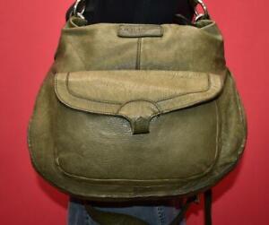 "LIEBESKIND BERLIN ""Coral B"" Green Leather Satchel Cross-body Shoulder Purse Bag"