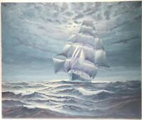 HENRY PLAWING UNDER MOONLIT SKIES CLIPPER SHIP NORTH AMERICA OIL CANVAS PAINTING