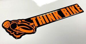 THINK BIKE Sticker - 150mm FLUORESCENT ORANGE & BLACK - GLOSS DOMED GEL FINISH
