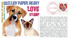 """COVERSCAPE computer generated Quilled Paper Heart """"Love"""" forever First Day Cover"""