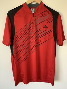 Adidas Football Training Shirt Mens XL Red 1/4 Zip S/sleeve Pre Owned *L1