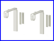 NEW 2 Sets Curtain Rod Holder Wall Ceiling Bracket WHITE Color