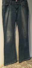 Riders Size 10 Low Rise Flare Blue Wash Denim Jeans Pink Detail
