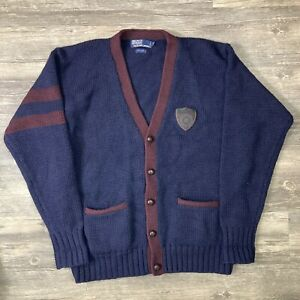 Vintage Polo Ralph Lauren Cardigan Varsity Crest Rare Wool Letterman Sweater